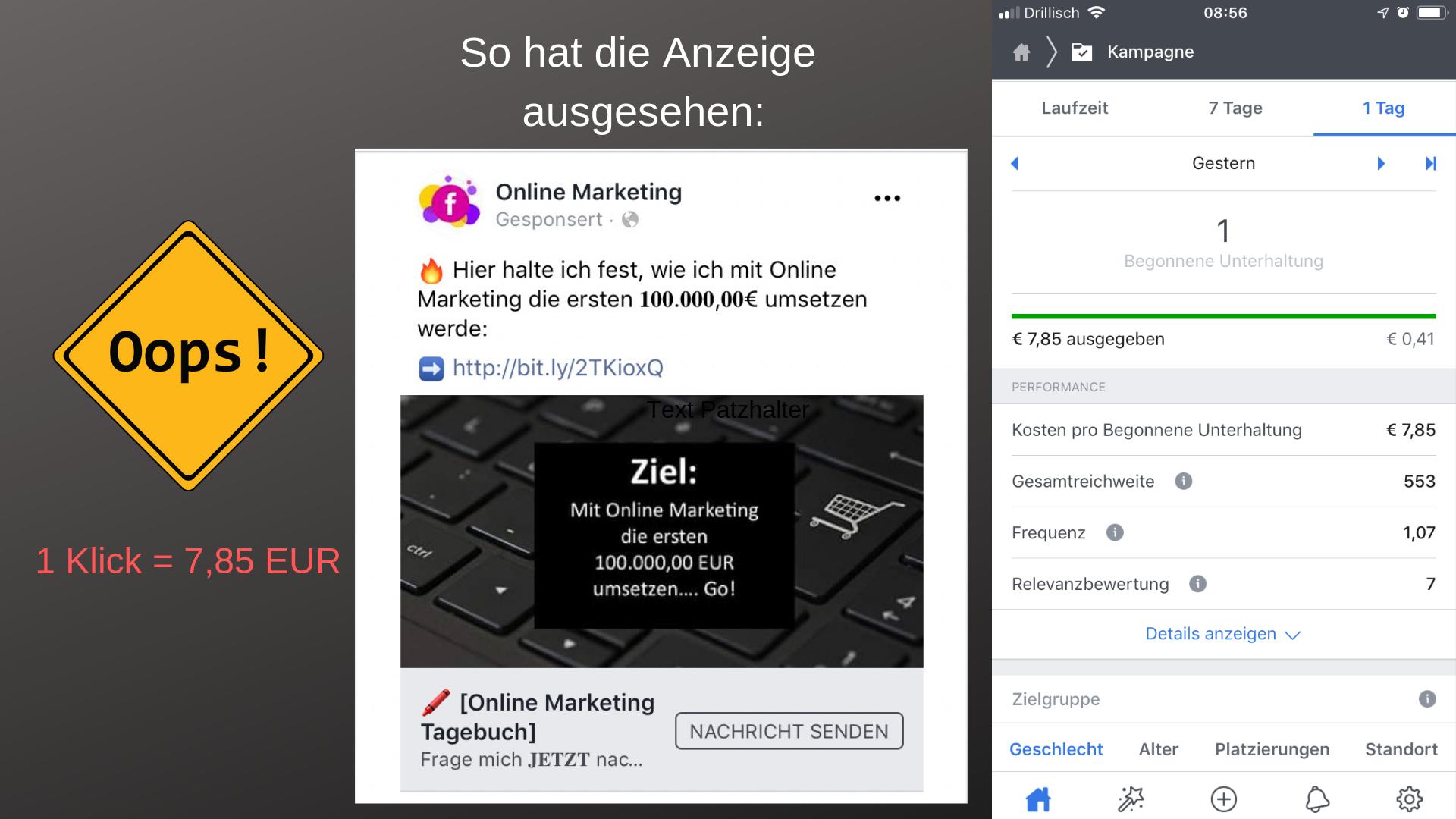 Neue Werbeform bei Facebook ausprobiert