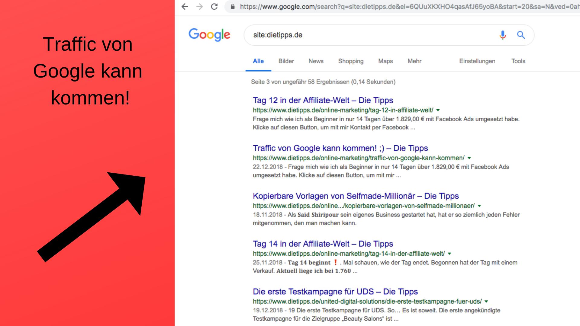 Traffic von Google kann kommen!